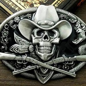 Cowboy Skull skeleton belt buckle